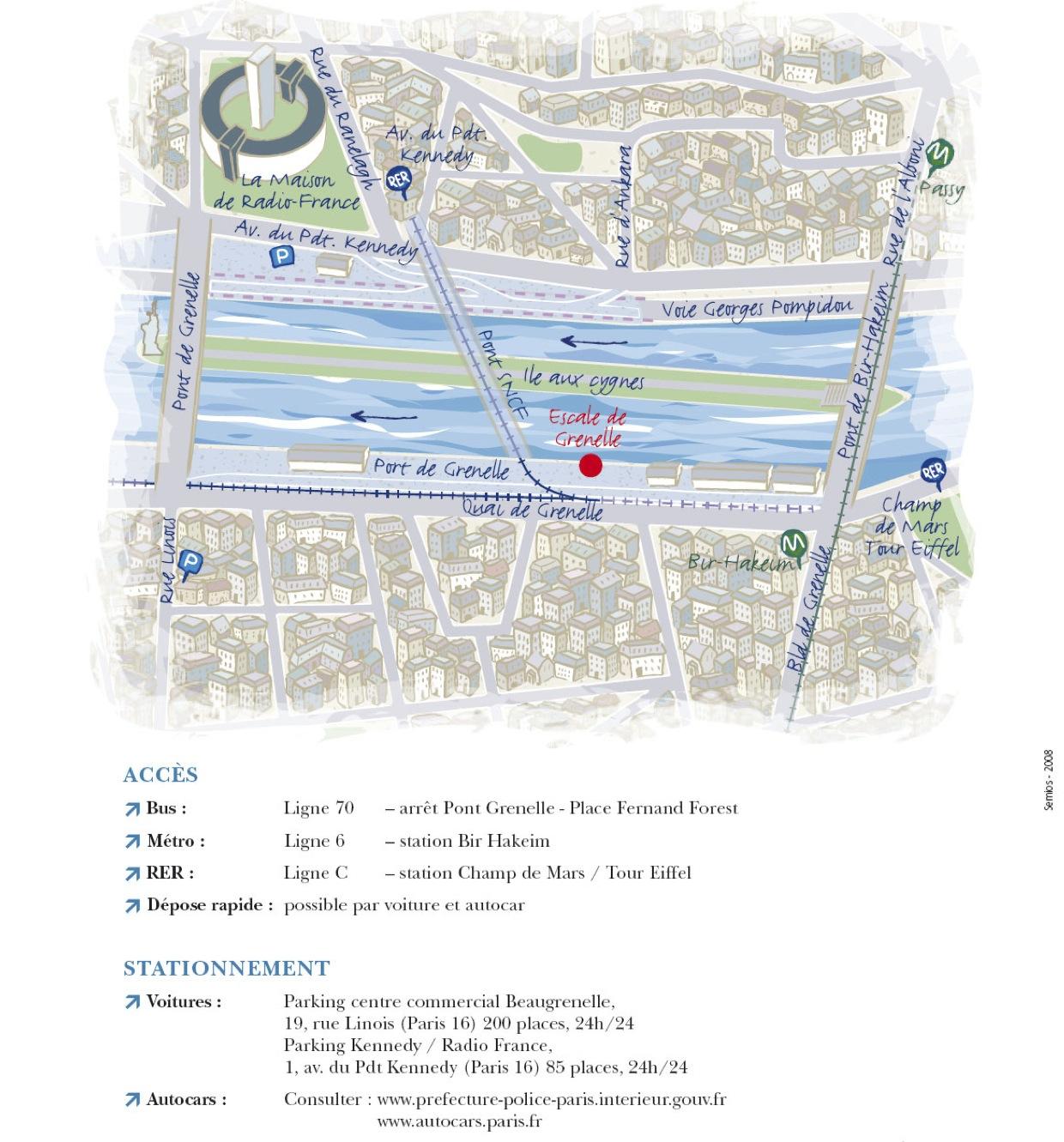 Plan d'accès au quai Grenelle